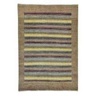 Striped Gabbeh Modern Hand-knotted Wool Oriental Rug (5'4 x 7'8)