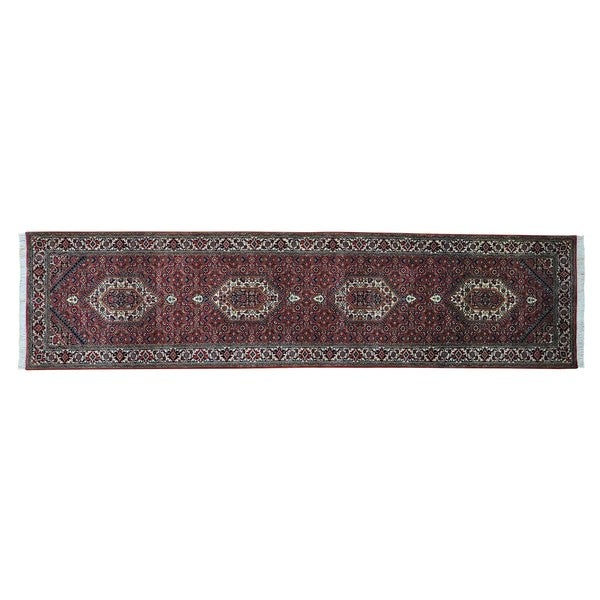 Wool and Silk Bidjar Mahi Handmade Oriental Runner Rug (2'10 x 11'5)