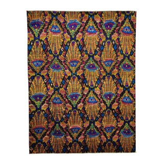 Sari Silk with Ikat Design Hand-knotted Oriental Rug (8' x 10'4)