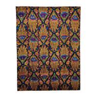 Sari Silk with Ikat Design Hand-knotted Oriental Rug (8' x 10'4)