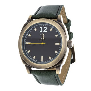 Brooklyn Exchange Men's Gold Case and Green Dial / Green Leather Strap Watch