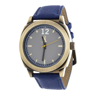 Brooklyn Exchange Men's Gold Case and Blue Dial / Blue Leather Strap Watch