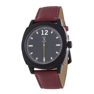 Brooklyn Exchange Men's Black Case and Dial / Red Leather Strap Watch