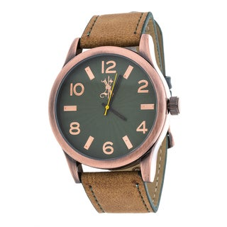 Brooklyn Exchange Men's Rose Case and Green Dial / Brown Leather Strap Watch