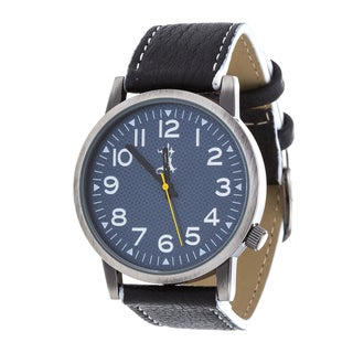Brooklyn Exchange Men's Silver Case and Blue Dial / Black Leather Strap Watch