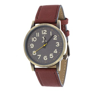 Brooklyn Exchange Men's Gold Case and Black Dial / Red Leather Strap Watch