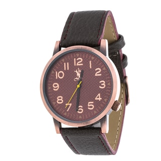 Brooklyn Exchange Men's Rose Case and Dial / Grey Leather Strap Watch