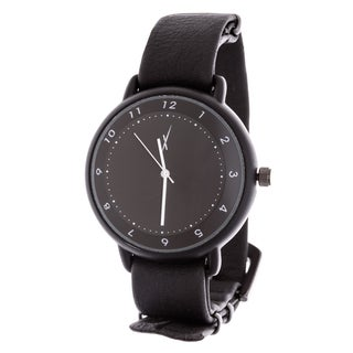 Brooklyn Exchange Men's Black Case and Dial / Black Leather Strap Watch