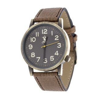 Brooklyn Exchange Men's Gold Case and Black Dial / Brown Leather Strap Watch