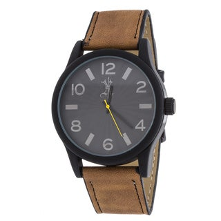 Brooklyn Exchange Men's Black Case and Dial / Brown Leather Strap Watch