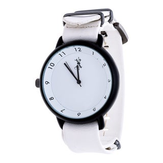 Brooklyn Exchange Men's Black Case and White Dial / White Leather Strap Watch
