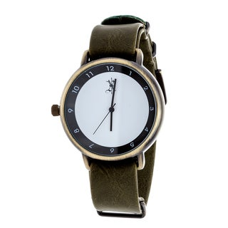 Brooklyn Exchange Men's Gold Case and White Dial / Green Leather Strap Watch