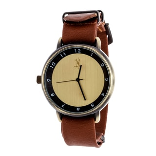 Brooklyn Exchange Men's Gold Case and Dial / Brown Leather Strap Watch