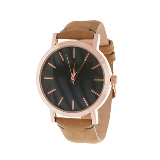 Xtreme Men's Rose Case and Black Dial / Beige Leather Strap Watch