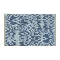 Soumak with Ikat Design Hand-woven Flat Weave Wool Rug (3'9 x 6')