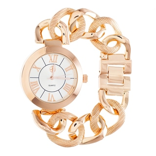 Fortune NYC Ladies Gold Case & White Dial / Gold Chain Strap Watch