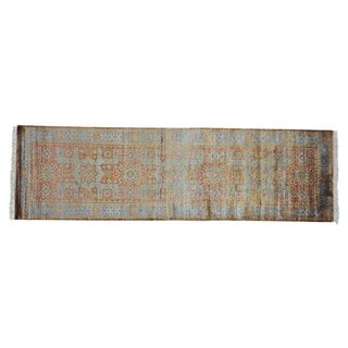 Hand-knotted Viscose From Bamboo Mamluk Oriental Runner Rug (3' x 9'10)
