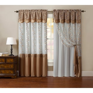 VCNY Maggie Embroidered Curtain Panel with Double Attached Valance and Backing