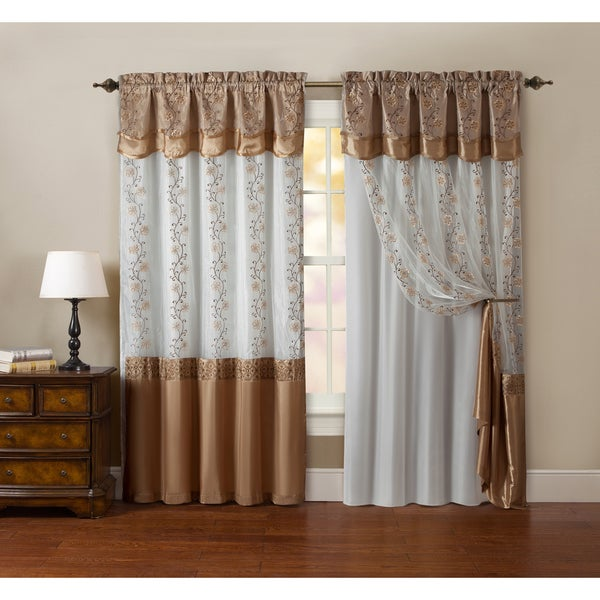 vcny maggie embroidered curtain panel with double attached valance and