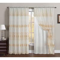 VCNY Lilliana Embroidered 55 x 90-inch Curtain Panel with Attached Valance and Backing