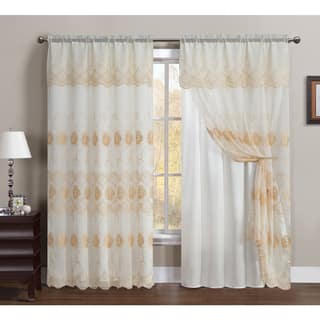 VCNY Lilliana Embroidered 55 X 90 Inch Curtain Panel With Attached Valance And Backing