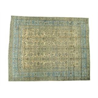Antique Persian Mashad Gold Oversize Handmade Rug (12'8 x 15'10)