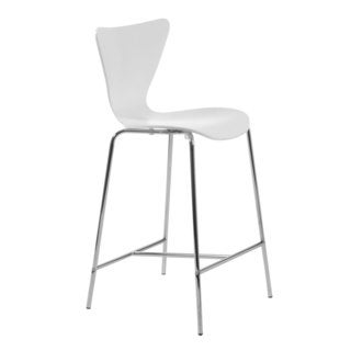 Tendy-C Counter Stool (Set of 2) - White/Chrome