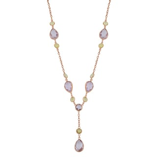 Fremada 14k Rose Gold Pear-shaped Amethyst and Round Green Amethyst Necklace (17 inches)