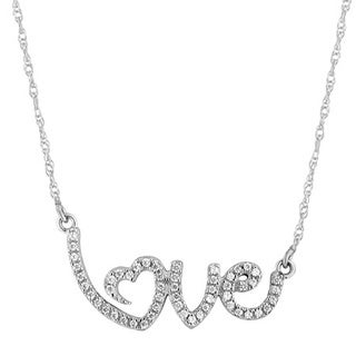 Sterling Silver 1/6ct TDW Diamond Cursive 'Love' Pendant Necklace (H-I, I2-I3)