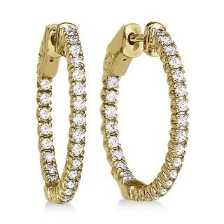 14k Gold 1.00ct Prong-Set Diamond Hoop Earrings (G-H, SI1-SI2)