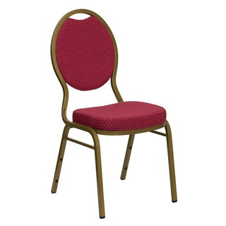 Larks Burgundy Upholstered Stack Dining Chairs