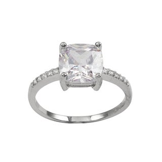 Luxiro Sterling Silver Cushion Cubic Zirconia Solitaire Engagement Ring