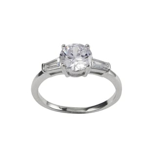 Sterling Silver Cubic Zirconia Solitaire Engagement Ring