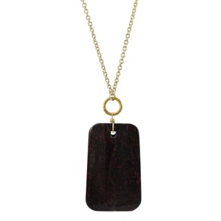 Luxiro Gold Finish Poppy Jasper Cabochon Semi-precious Gemstone Necklace