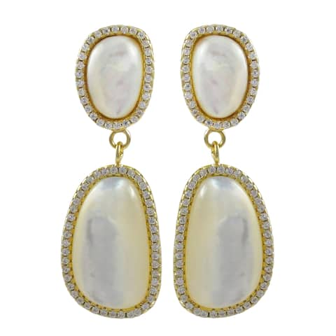 Luxiro Gold Finish Sterling Silver Mother of Pearl Dangle Earrings - White