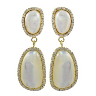 Luxiro Gold Finish Sterling Silver Mother of Pearl Dangle Earrings