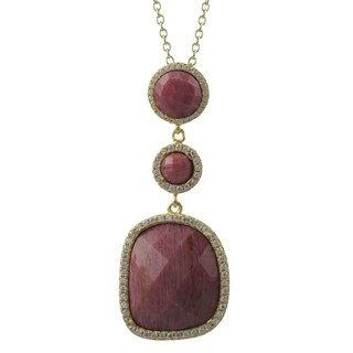 Luxiro Gold Finish Sterling Silver Semi-precious Gemstone Pendant Necklace