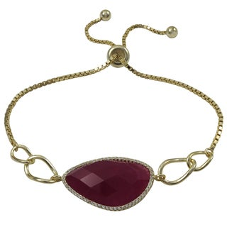 Luxiro Gold Finish Sterling Silver Semi-precious Gemstone Adjustable Bracelet