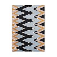 Alliyah Handmade Zig Zag Pattern New Zealand Blend Wool Rug - 5' x 8'