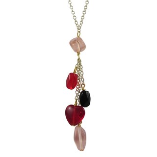 Luxiro Gold Finish Red and Pink Beads Heart Tassel Necklace