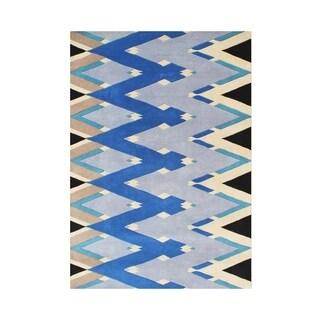 Alliyah Handmade Beige Zig Zag New Zealand Blend Wool Rug (5' x 8')