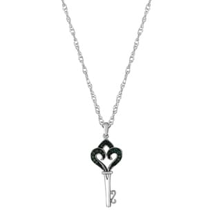 Sterling Silver 1/8ct TDW Blue Diamond Key Pendant Necklace (I2-I3)