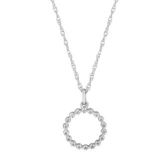 Sterling Silver 1/5ct TDW Diamond Round Pendant Necklace