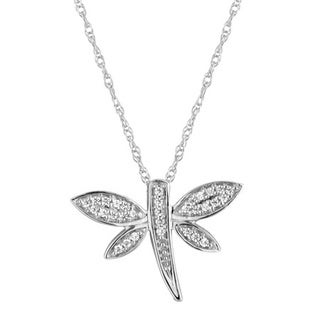 Sterling Silver 1/10ct TDW Diamond Dragonfly Pendant Necklace