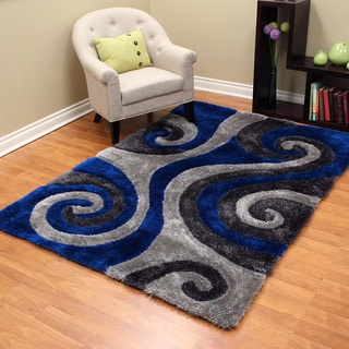 3D Shaggy-805 Abstract Swirl Design Elextric Blue Color Area Rug 5'x7'