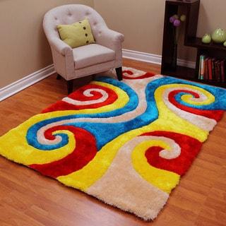 3D Shaggy-805 Abstract Swirl Design Multi Color Area Rug 5'x7'