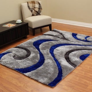 3D Shaggy-806 Abstract wavy swirl design Electric Blue color area rug 5'x7'