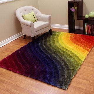3D Shaggy-807 Wavy Design Rainbow Color Area Rug 5'x7'