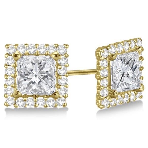 14k Gold 0 55ct Pave Set Square Princess Cut Diamond Earring Jackets