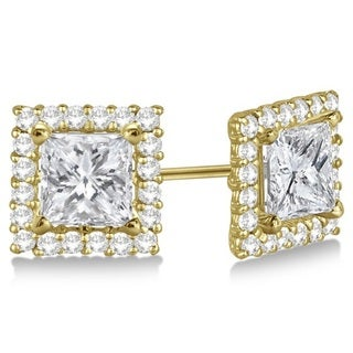 14k Gold 0.55ct Pave-Set Square Princess-cut Diamond Earring Jackets (G-H, SI1-SI2)